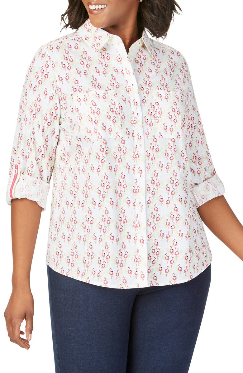 FOXCROFT Zoey Dancing Flamingos Shirt, Main, color, MULTI