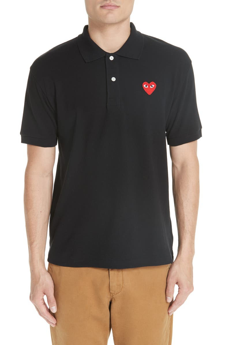 COMME DES GARÇONS PLAY Heart Logo Slim Fit Polo, Main, color, BLACK