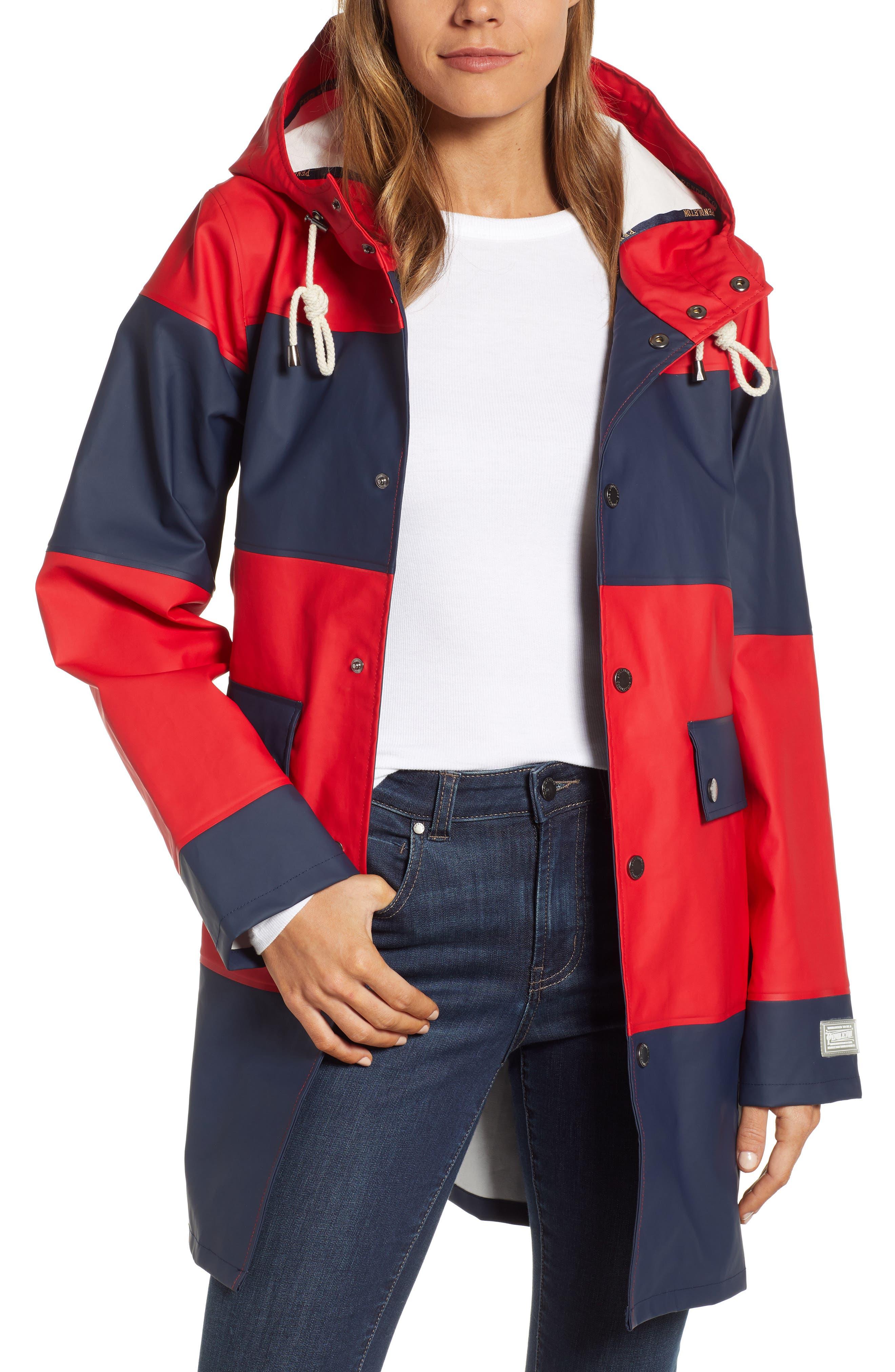 Seaside Hooded Rain Jacket, Main, color, RED/ NAVY