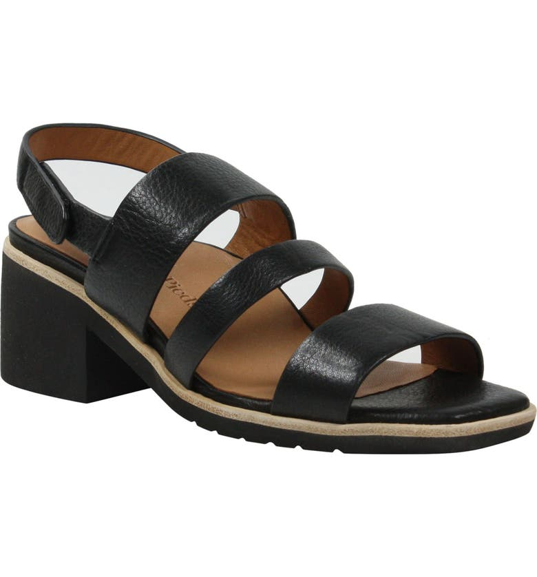 L'AMOUR DES PIEDS Quennell Sandal, Main, color, BLACK LEATHER