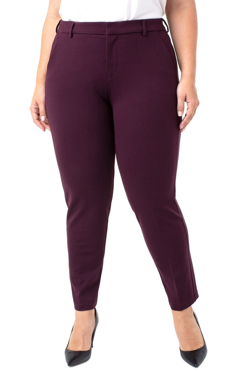 LIVERPOOL Kelsey Ponte Knit Trousers, Main, color, AUBERGINE