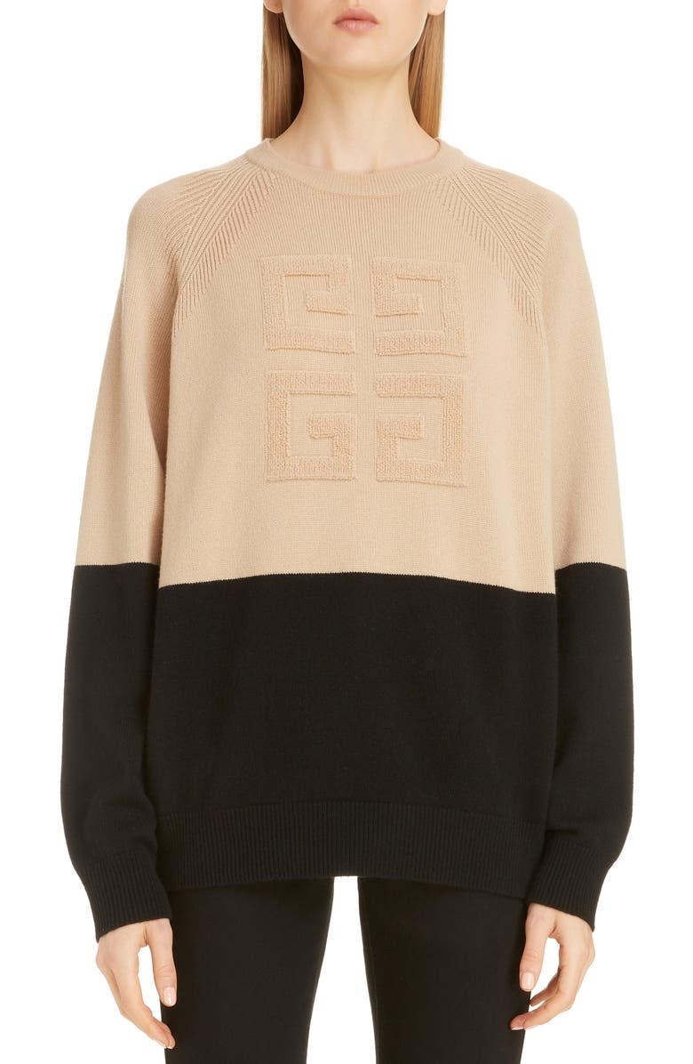 Embossed Logo Bicolor Cashmere Sweater by Givenchy