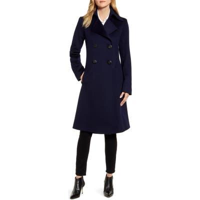 Fleurette Double Breasted Wool Princess Coat, Blue