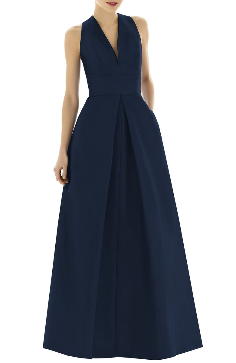 ALFRED SUNG Dupioni A-Line Gown, Main, color, MIDNIGHT