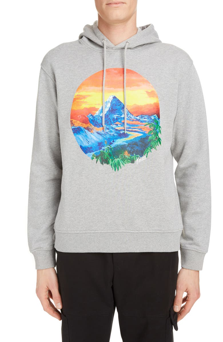 KENZO Mountain Graphic Cotton Hoodie, Main, color, PEARL GREY