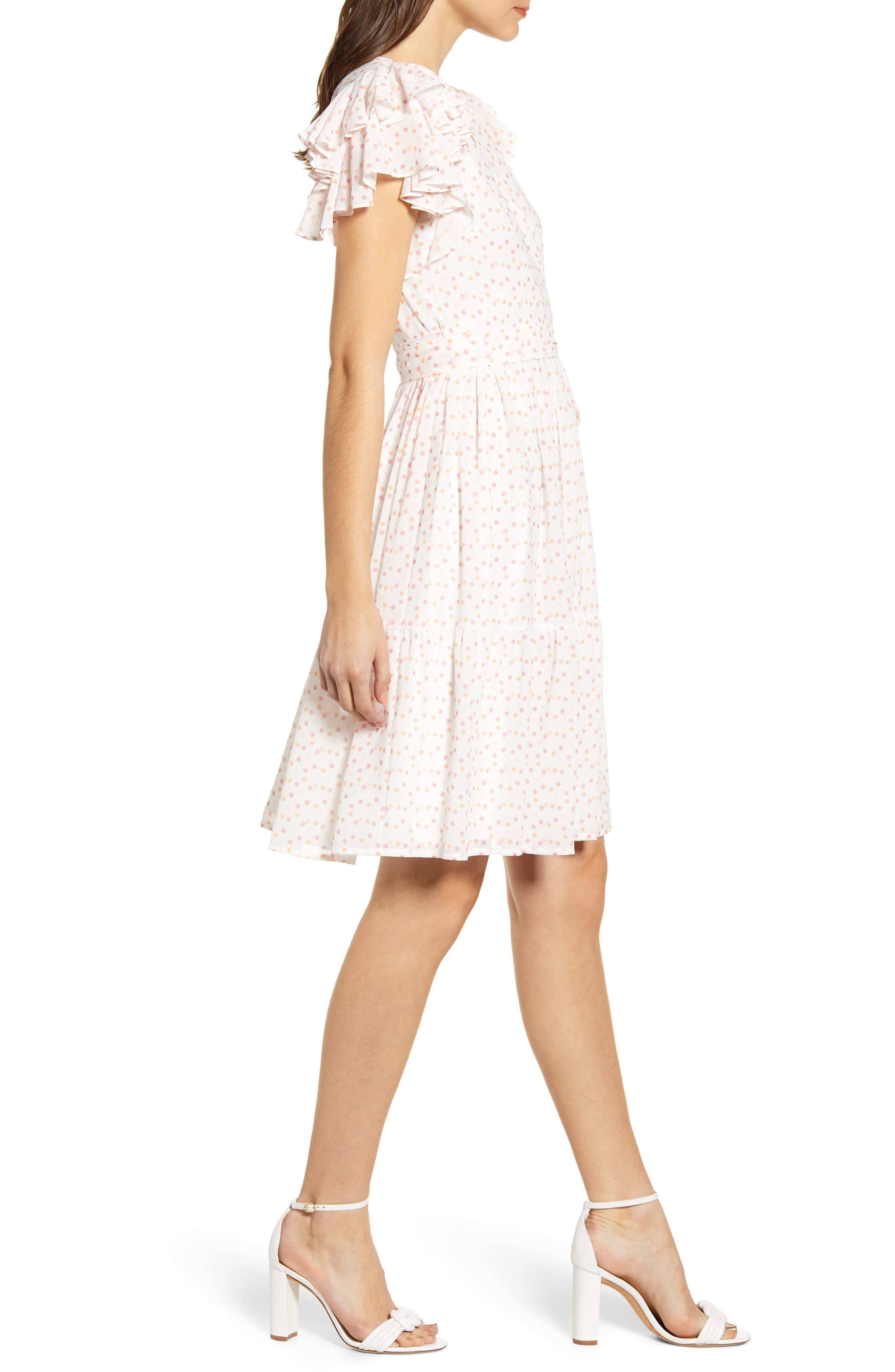 ,                             Tiered Ruffle Sleeve Dress,                             Alternate thumbnail 5, color,                             WHITE PAINTED DOT
