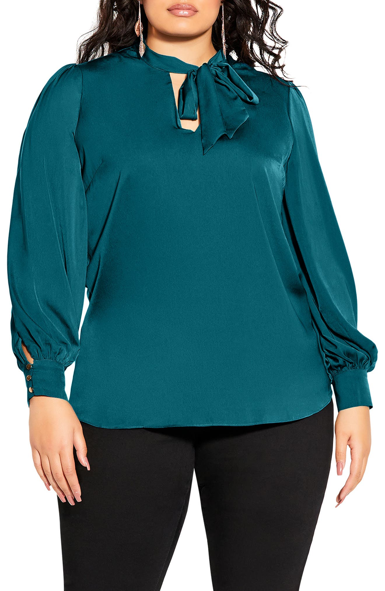 In Awe Tie Neck Blouse