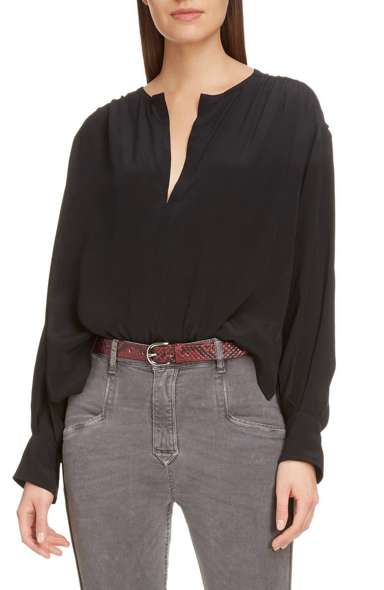 ISABEL MARANT ÉTOILE Yacah Silk High/Low Shirt, Main, color, BLACK