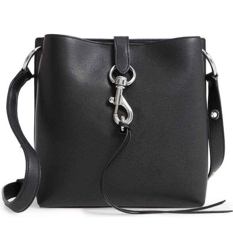 REBECCA MINKOFF Small Megan Leather Crossbody Feed Bag, Main, color, BLACK