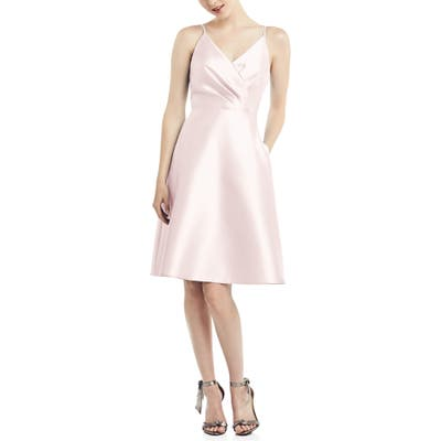 Alfred Sung Fit & Flare Satin Twill Cocktail Dress, Pink
