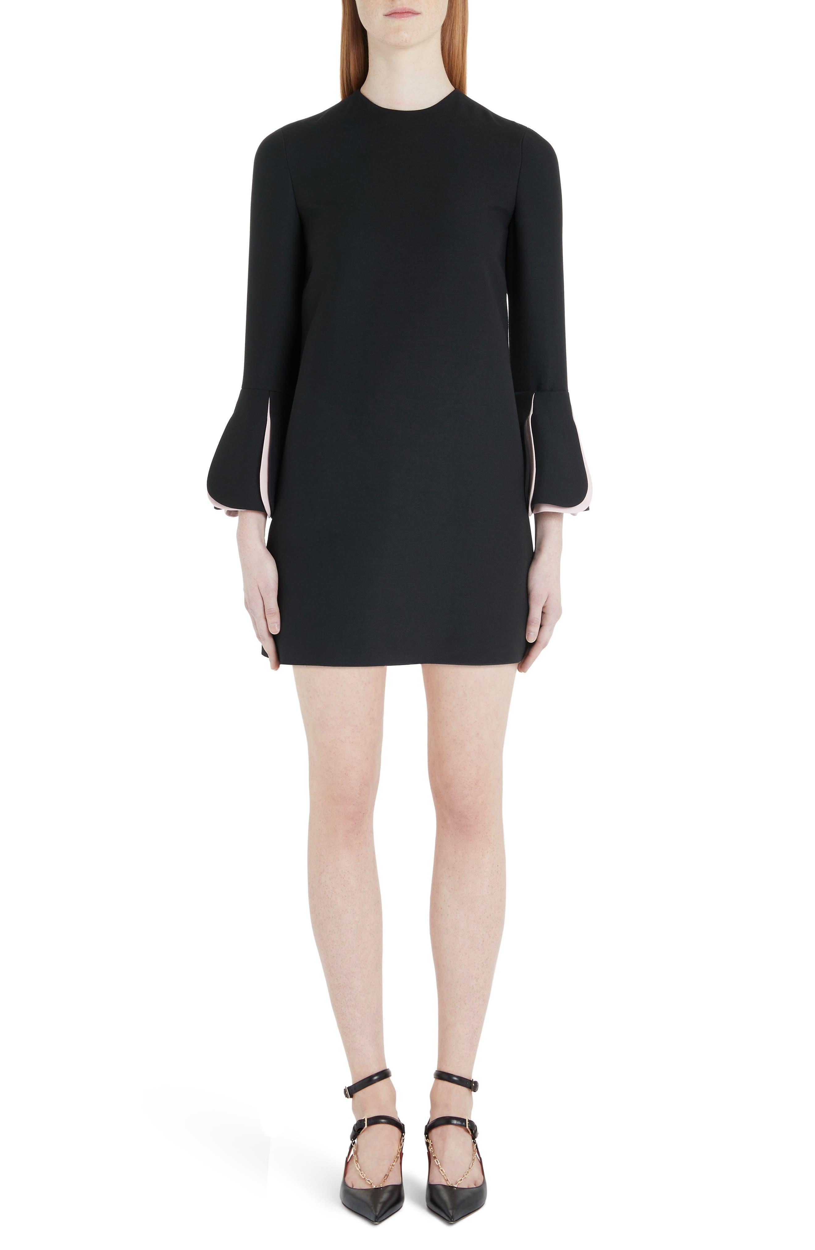 Valentino Pleat Cuff Wool & Silk Shift Minidress, 8 IT - Black