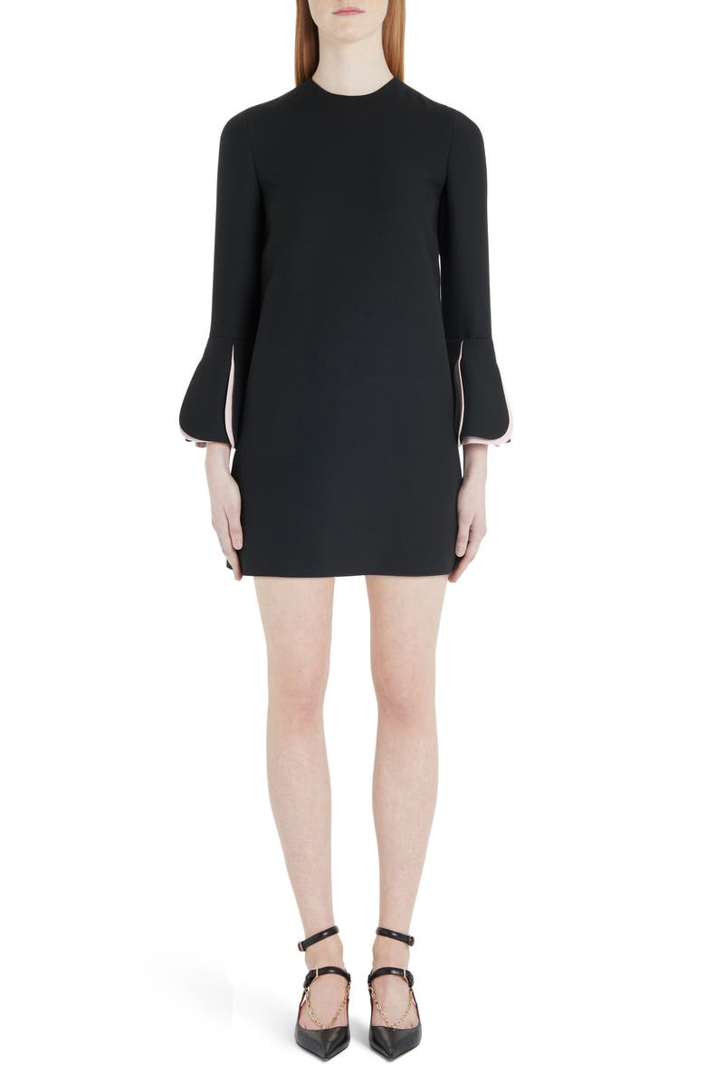 VALENTINO Pleat Cuff Wool & Silk Shift Minidress, Main, color, Z15-BLACK/ PINK