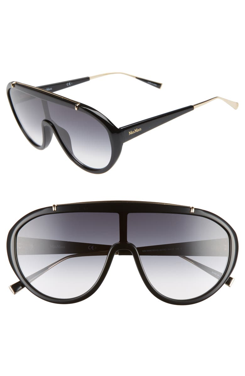 MAX MARA Wintry 133mm Shield Sunglasses, Main, color, BLACK