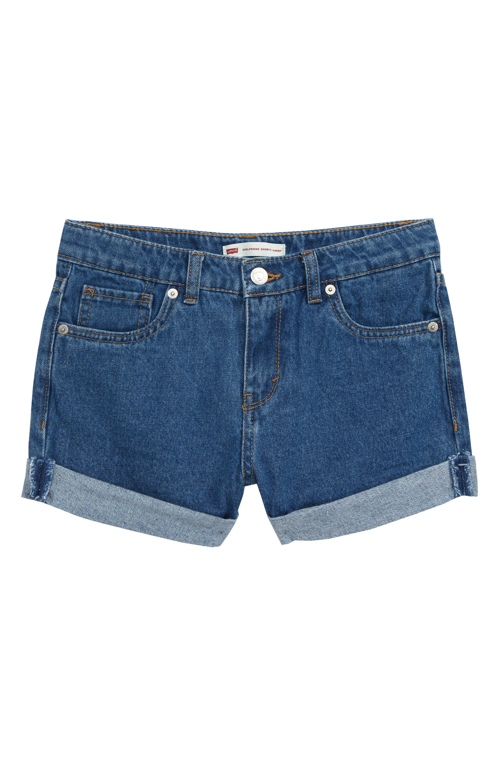 83f949ee47 Levi's® Girlfriend Rolled Cuff Denim Shorts (Big Girls) | Nordstrom