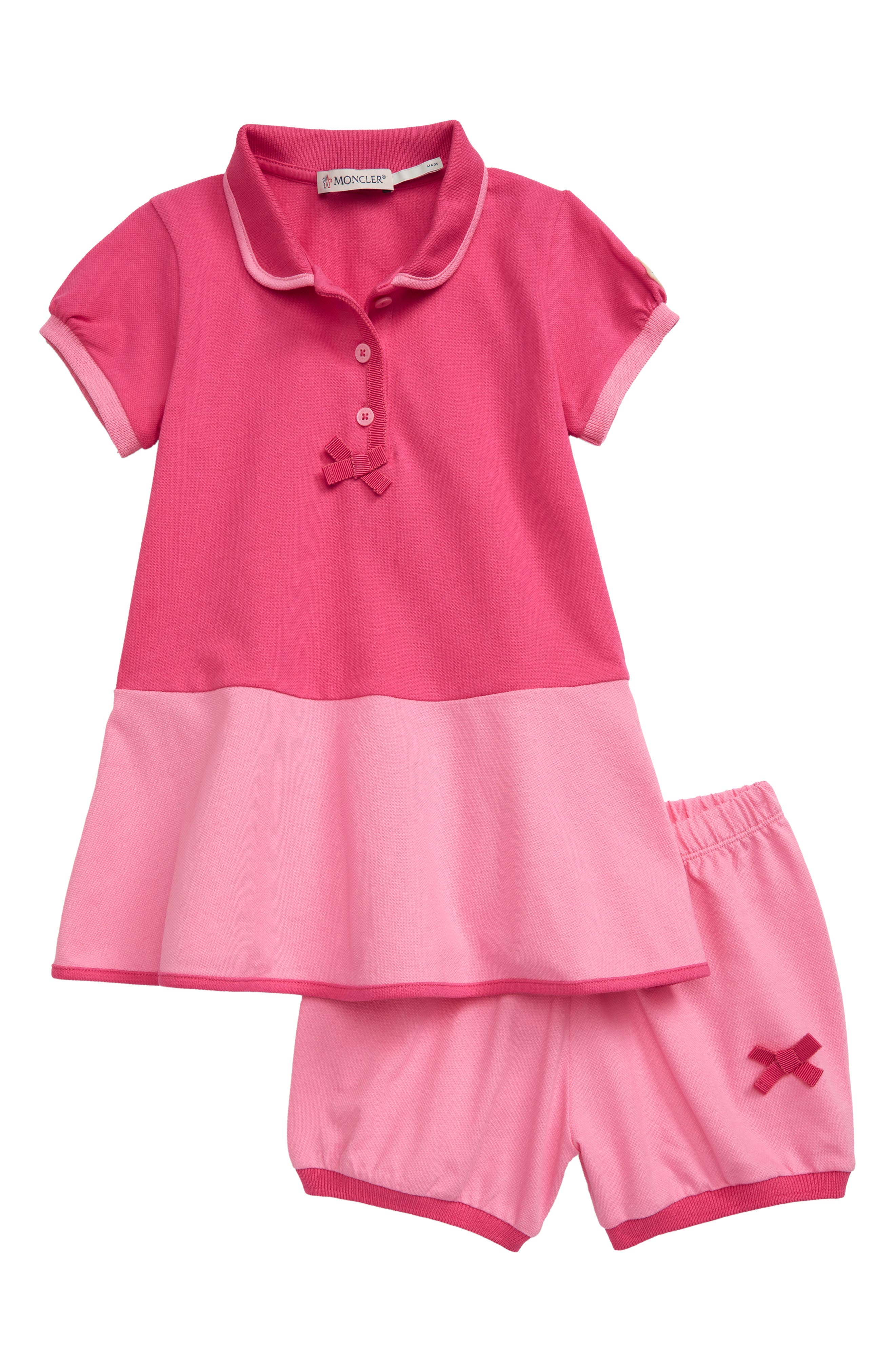 Grosgrain bows and trim-Moncler signatures-sweeten this cotton pique polo dress paired with coordinated bloomers. Style Name: Moncler Pique Polo Dress (Toddler). Style Number: 6000305. Available in stores.