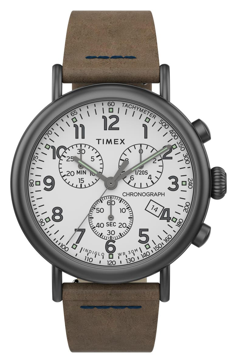 TIMEX<SUP>®</SUP> Waterbury Standard Chronograph Leather Strap Watch, 41mm, Main, color, BROWN/ WHITE/ GUNMETAL
