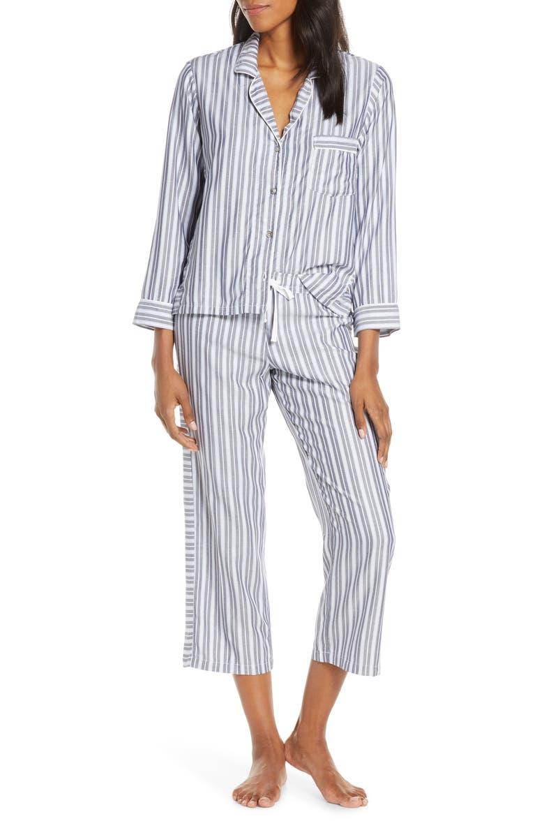 UGG<SUP>®</SUP> Katherine Crop Pajamas, Main, color, NAVY / FRESH AIR