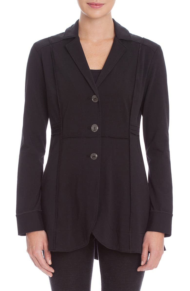 NIC+ZOE Seamed Stretch Knit Riding Jacket, Main, color, BLACK ONYX