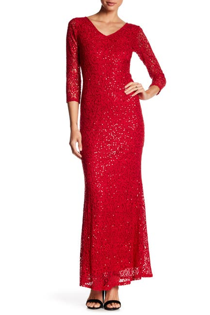 Image of Marina Sequined Lace Gown
