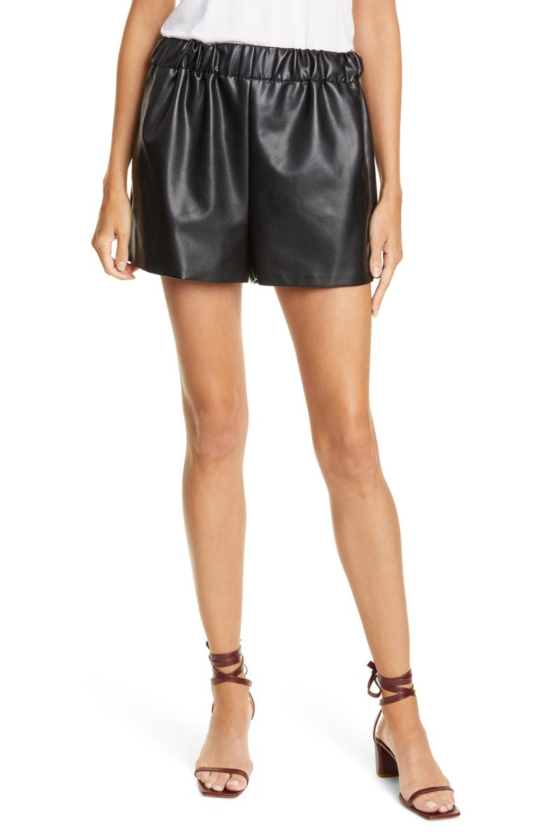 TIBI Faux Leather Shorts, Main, color, 001
