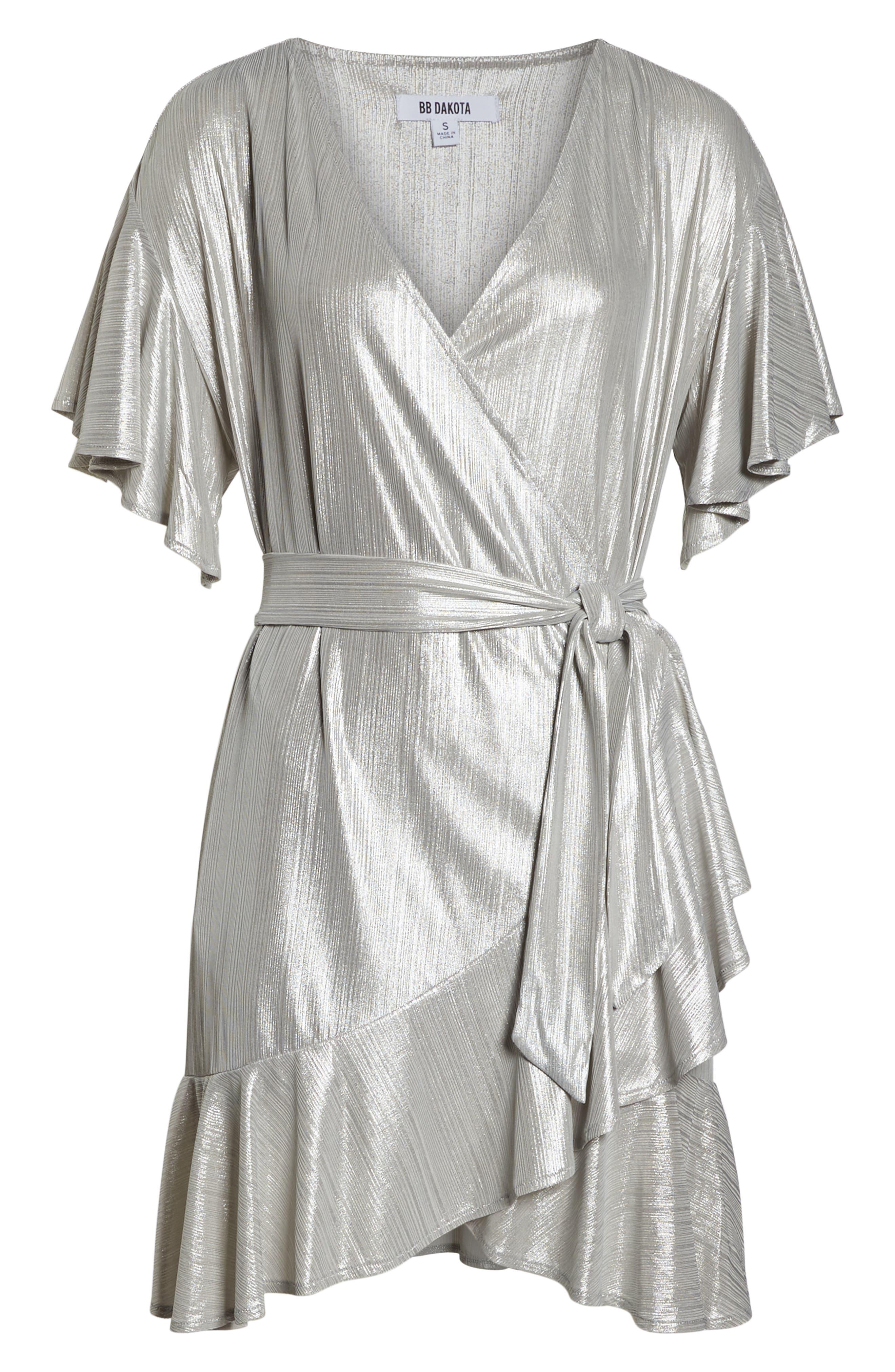 ,                             Metallic Ruffle Wrap Dress,                             Alternate thumbnail 7, color,                             SILVER