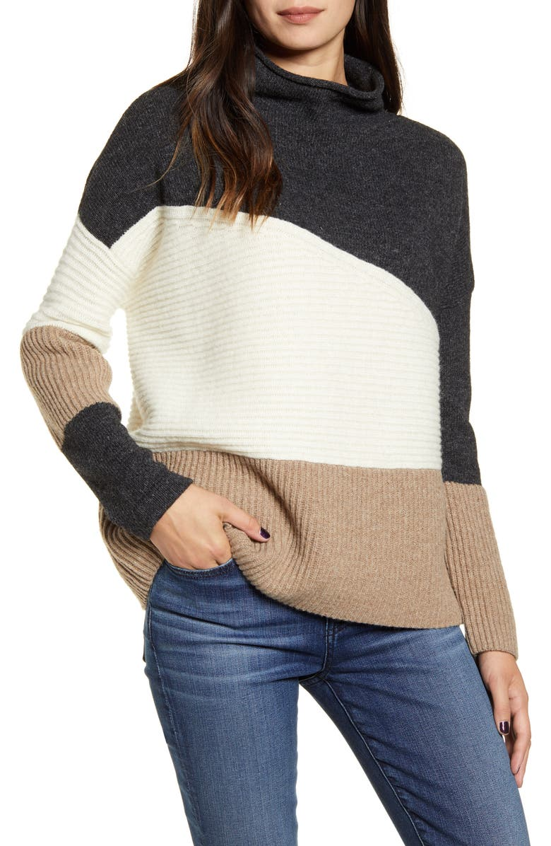 FRENCH CONNECTION Patchwork Funnel Neck Sweater, Main, color, MOCHA MOUSSE MULTI