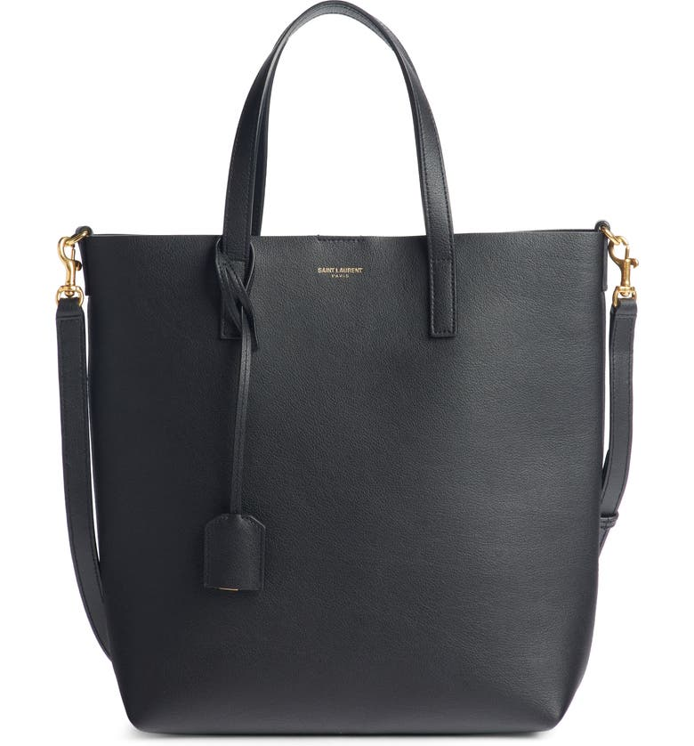 SAINT LAURENT Toy Shopping Leather Tote, Main, color, NOIR