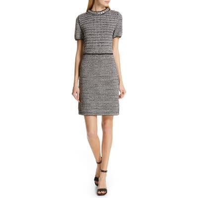 Tory Burch Embellished Fringe Tweed Dress, Grey