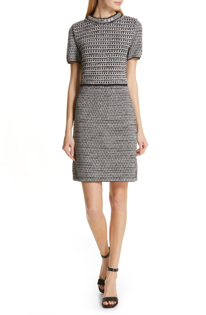 Tory Burch Embellished Fringe Tweed Dress