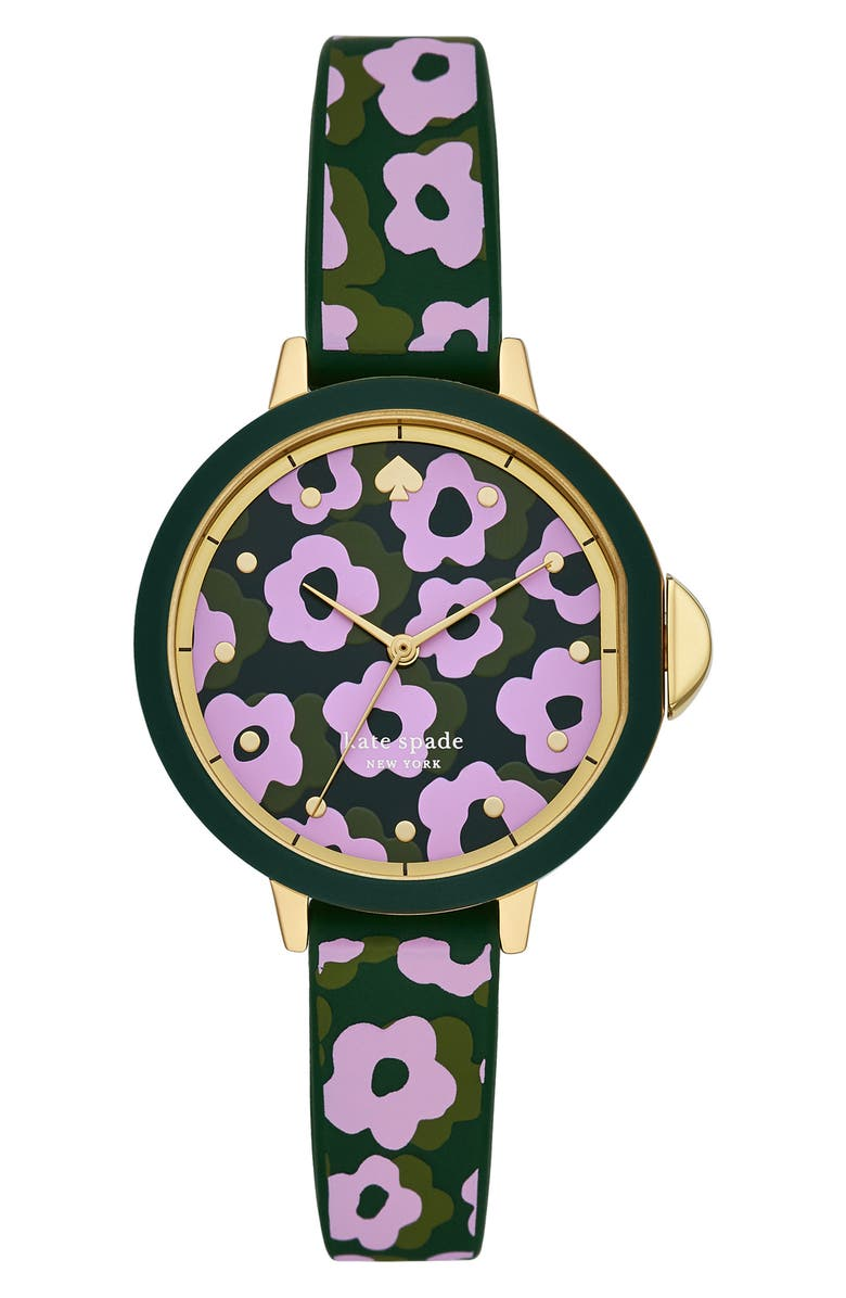 KATE SPADE NEW YORK kate spade park row floral silicone strap watch, 34mm, Main, color, PURPLE/ GREEN/ GOLD