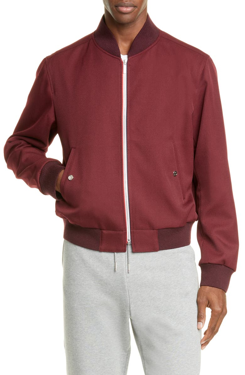 THOM BROWNE Twill Bomber Jacket, Main, color, BURGUNDY