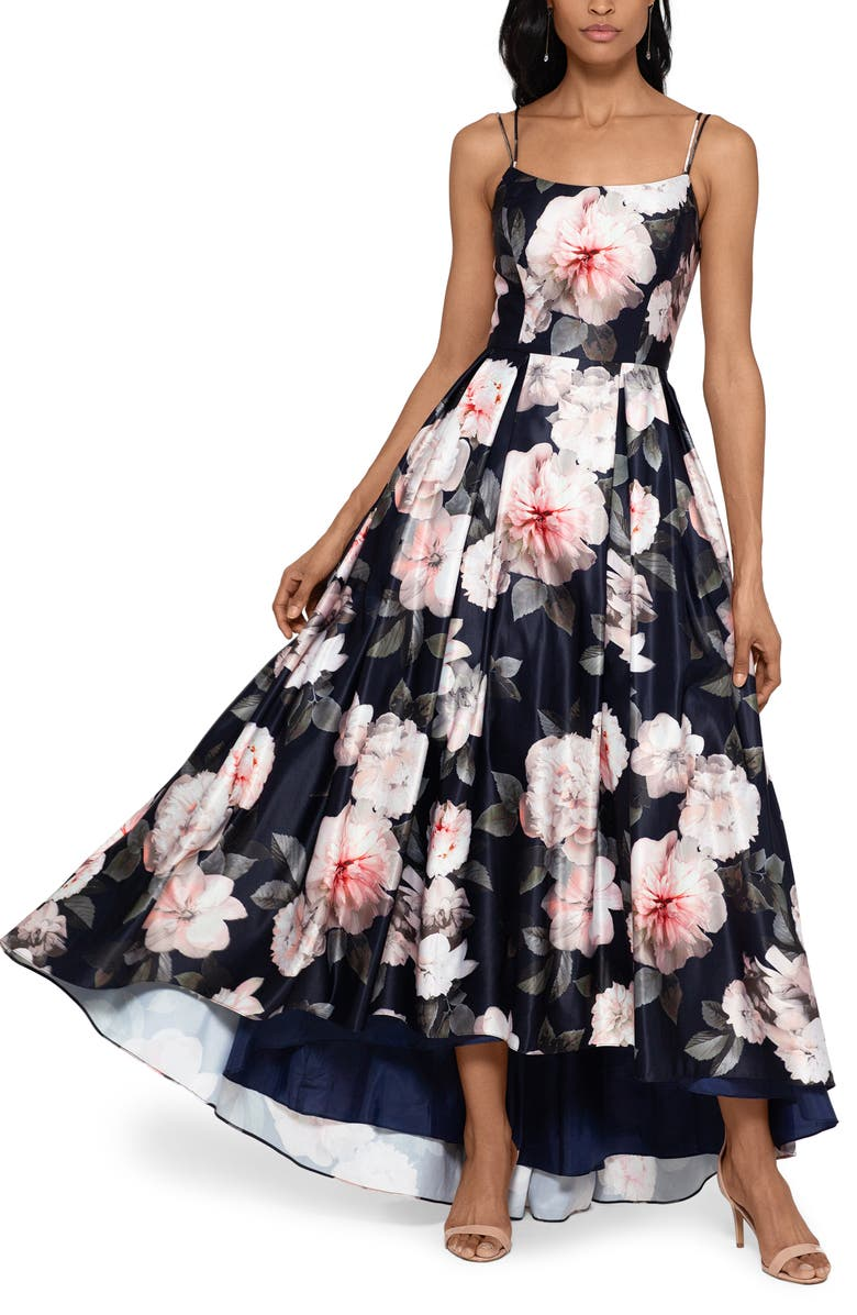 XSCAPE Floral Satin High/Low Ballgown, Main, color, NAVY/ BLUSH