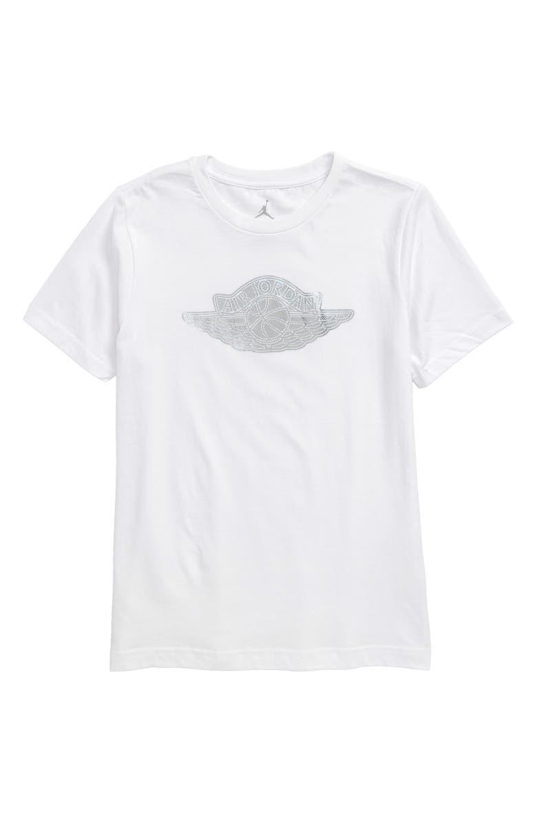 JORDAN Wing Pin Graphic T-Shirt, Main, color, WHITE