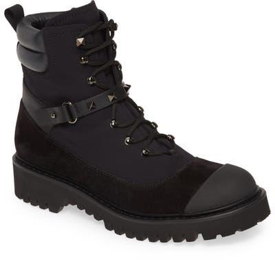 Valentino Garavani Rockstud Cap Toe Combat Boot - Black (Nordstrom Exclusive)