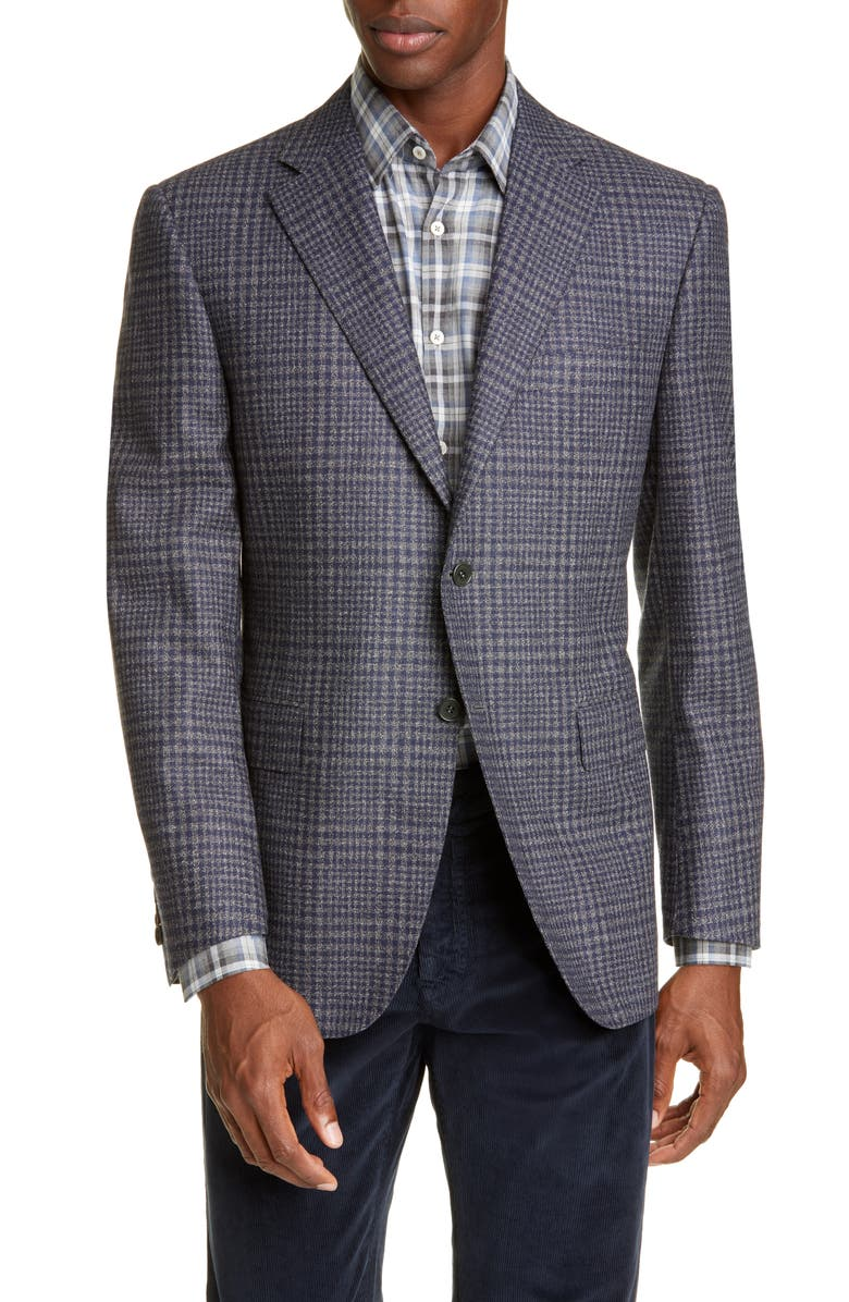 CANALI Siena Soft Classic Fit Plaid Wool Sport Coat, Main, color, GREY