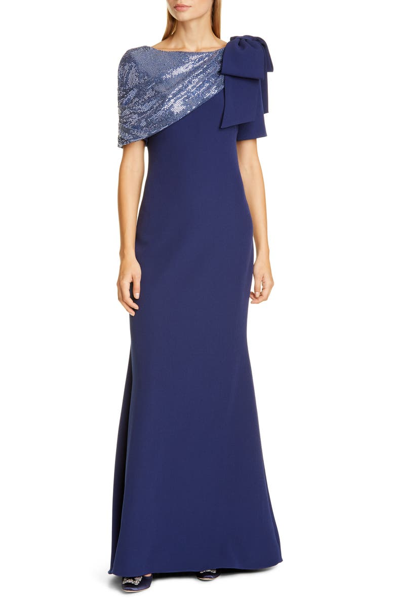BADGLEY MISCHKA COLLECTION Blouson Long Sleeve Sequin Stripe Cocktail Dress, Main, color, DARK SAPPHIRE