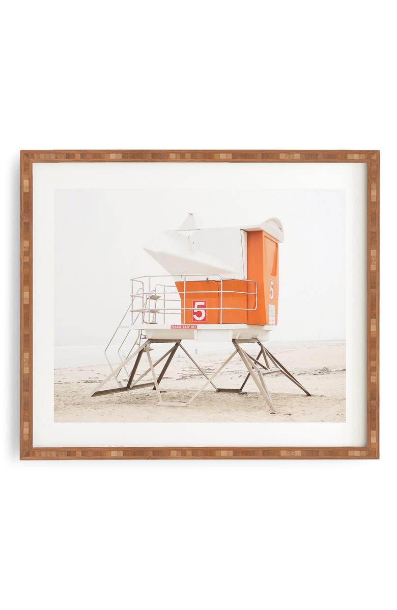 DENY DESIGNS Orange Beach Tower Framed Wall Art, Main, color, ORANGE