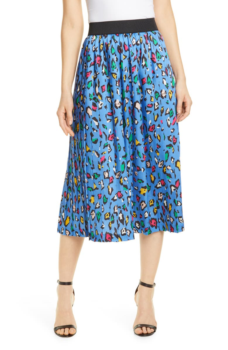 HELENE BERMAN Printed Pleated Midi Skirt, Main, color, BLUE MIX