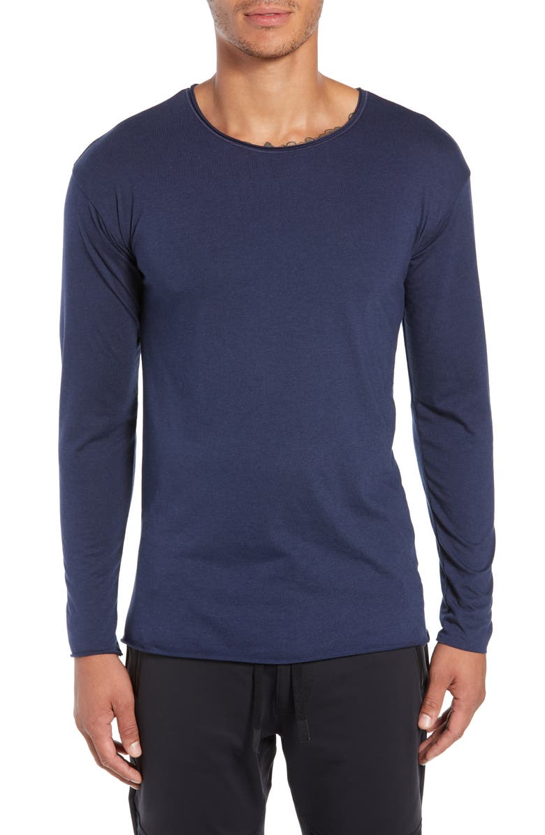 ALO The Ultimate Slim Fit Long Sleeve Shirt, Main, color, SOLID NAVY TRIBLEND