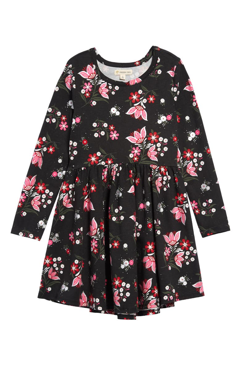 TUCKER + TATE Print Knit Dress, Main, color, BLACK WINTER DOTTY SPRIG