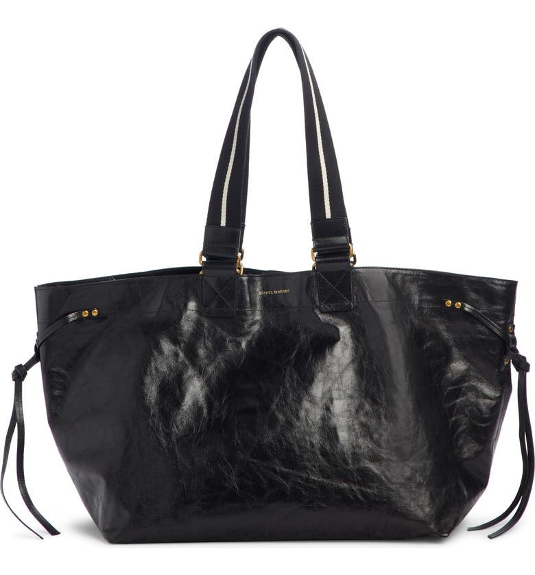 ISABEL MARANT Wardy New Leather Shopper, Main, color, BLACK