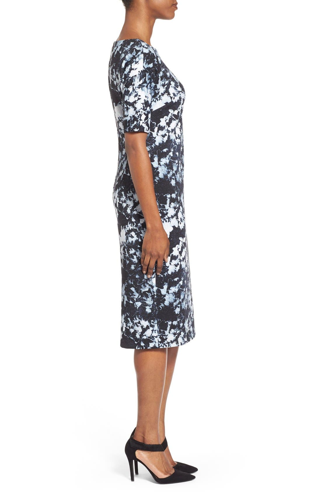 ,                             'Bustling Floral' Print Scuba Knit Sheath Dress,                             Alternate thumbnail 5, color,                             426