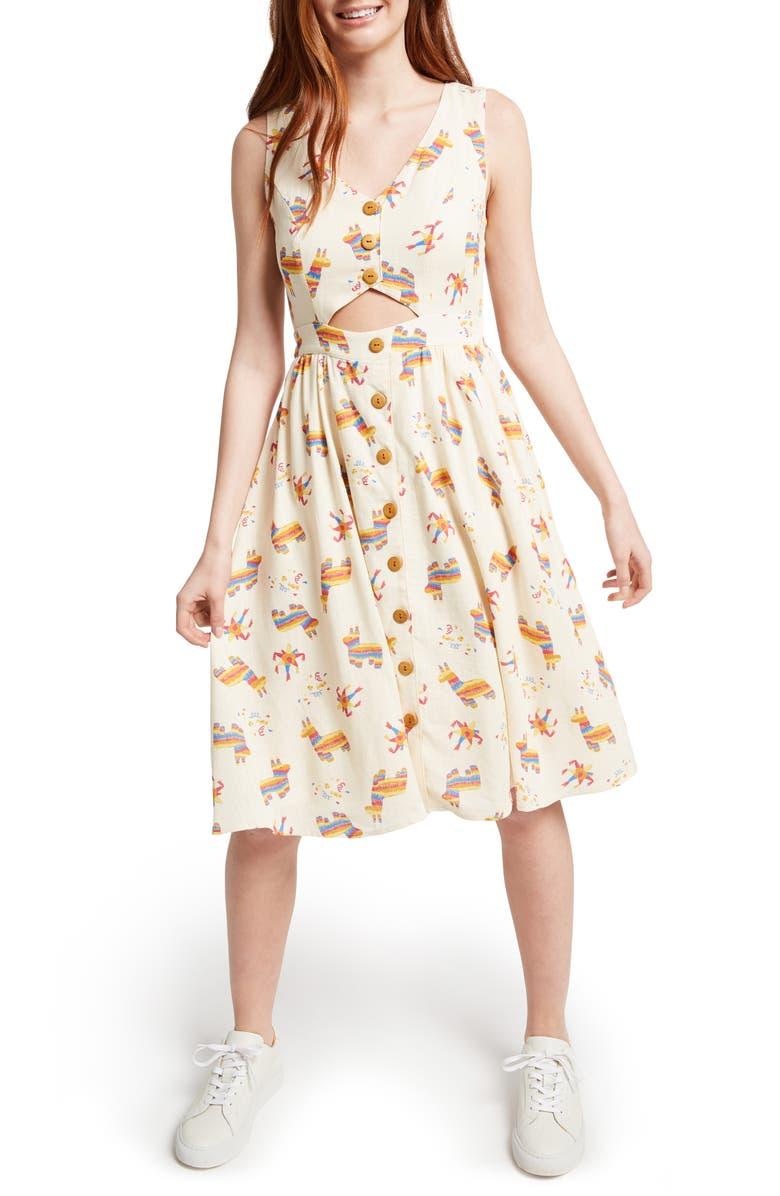 MODCLOTH Print Fit & Flare Dress, Main, color, 900