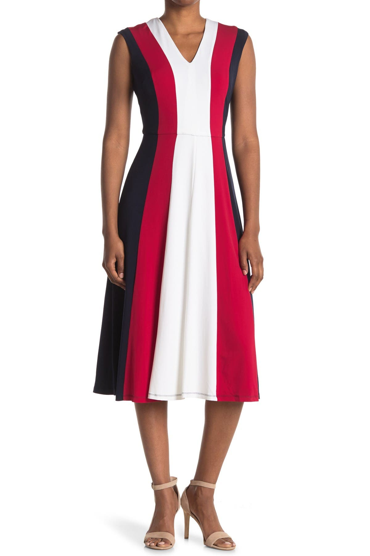Image of Maggy London Colorblock V-Neck Fit & Flare Dress