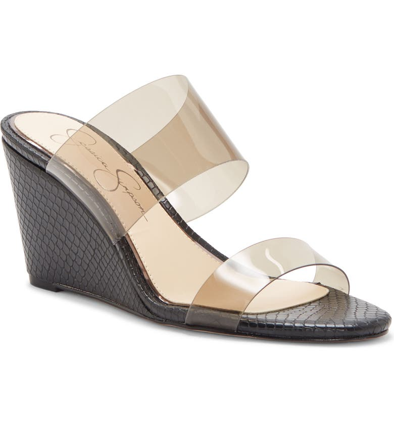 JESSICA SIMPSON Cilvey Wedge Slide Sandal, Main, color, SMOKE FAUX LEATHER