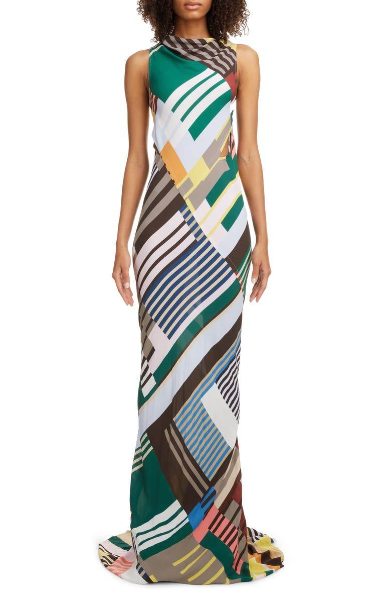 RICK OWENS Geo Print Back Cutout Column Gown, Main, color, UXMAL PRINT