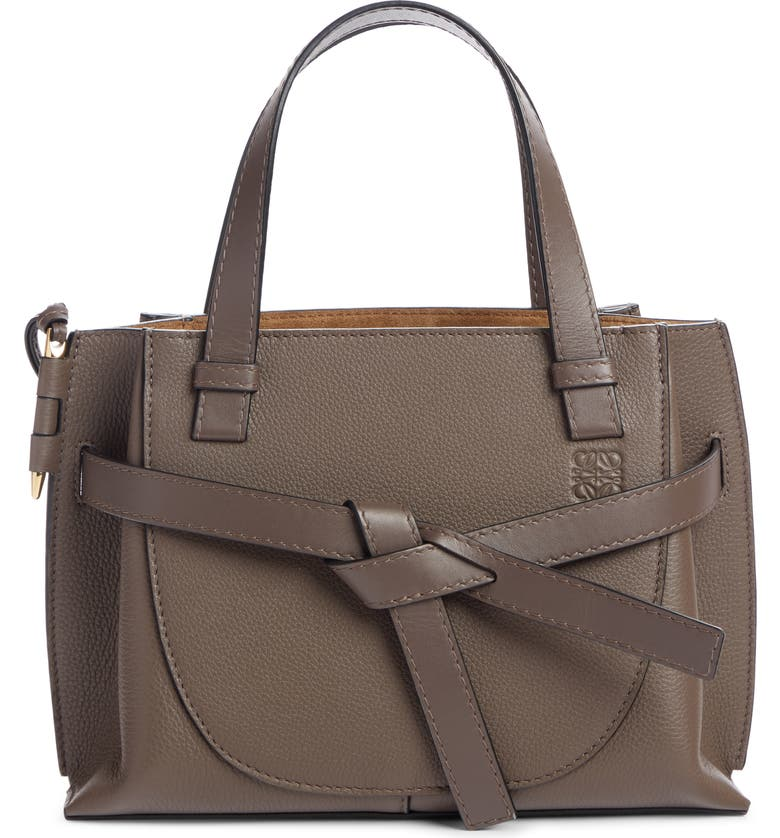 LOEWE Mini Gate Leather Tote, Main, color, DARK TAUPE