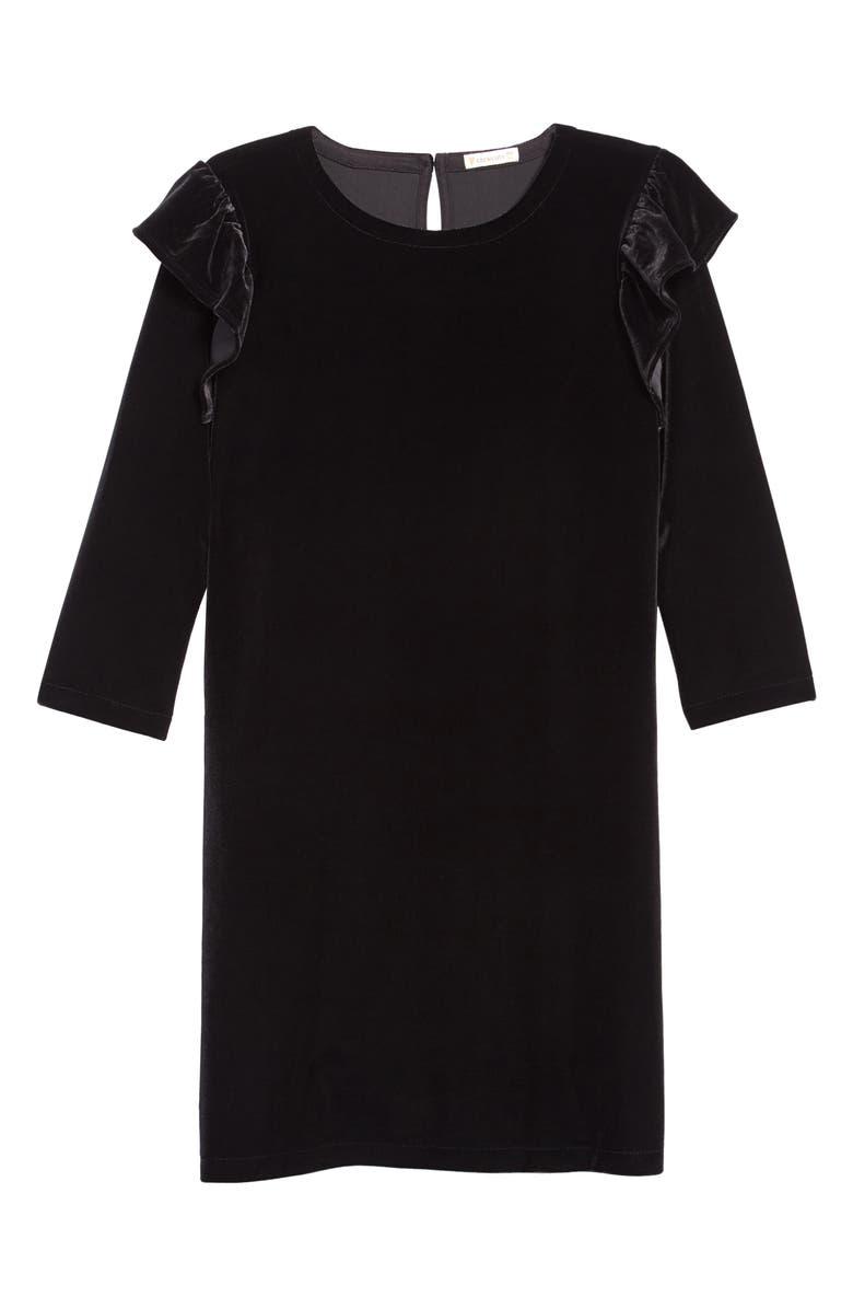 CREWCUTS BY J.CREW Ruffle Trim Stretch Velvet Dress, Main, color, 001