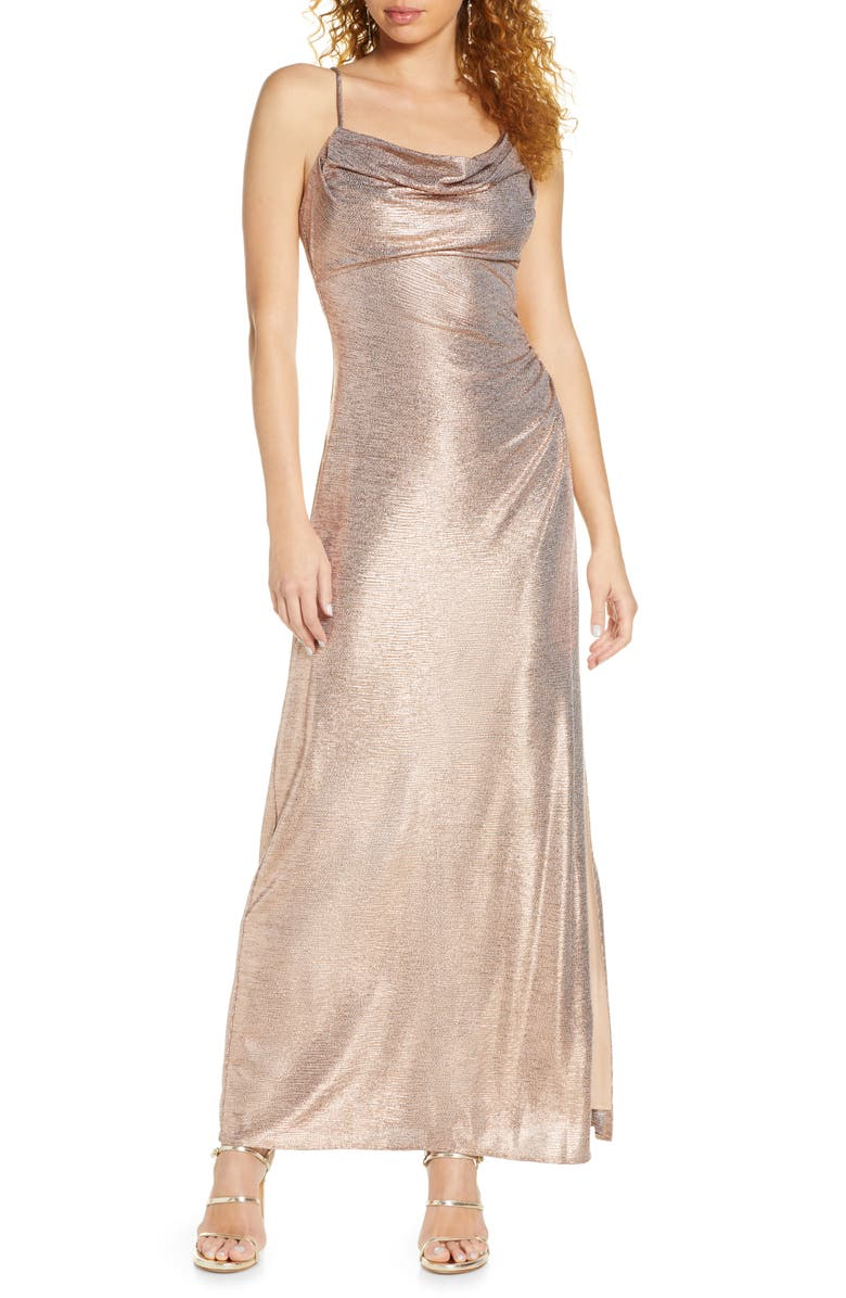 MORGAN & CO. Drape Shimmer Gown, Main, color, ROSE GOLD