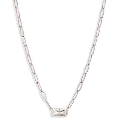 Anzie Dew Drop White Topaz Baguette Pendant Necklace